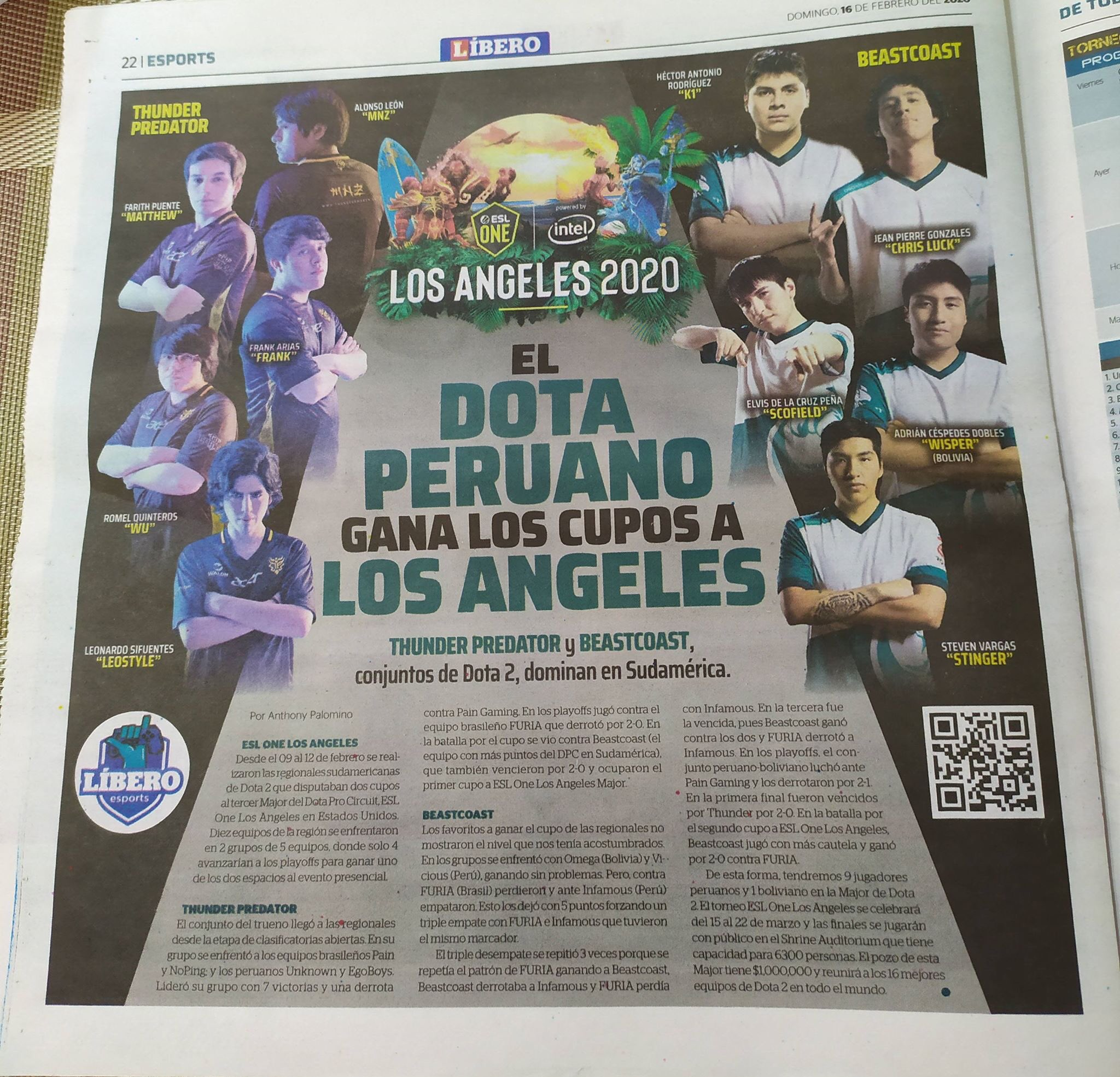 A newspaper article written in Spanish with both Peruvian ESL One LA qualifying teams — Thunder Predator and our very own Beastcoast! The image shows each player on both teams posing. Thunder Predator is on the left and Beastcoast is pictured on the right.